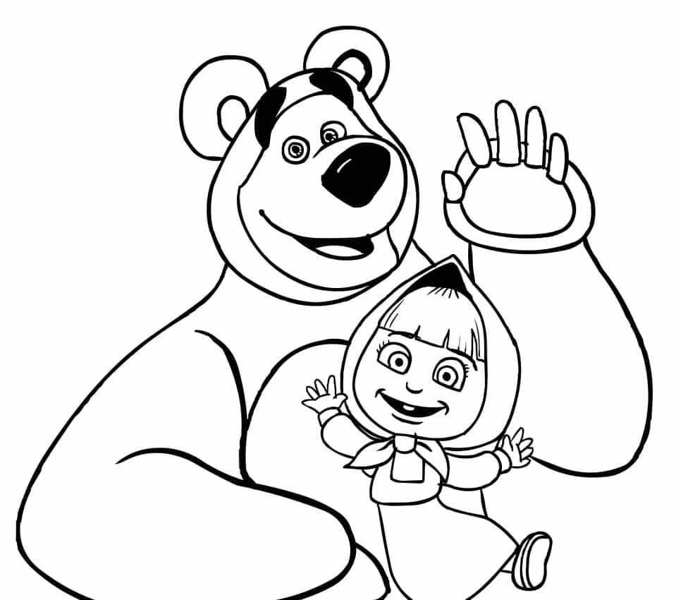 Dibujos para colorear Masha y el Oso - Dibujos Animados