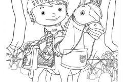 Colorear niño montado a caballo