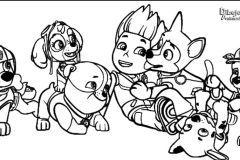 Colorear a cachorros con ryder jugando