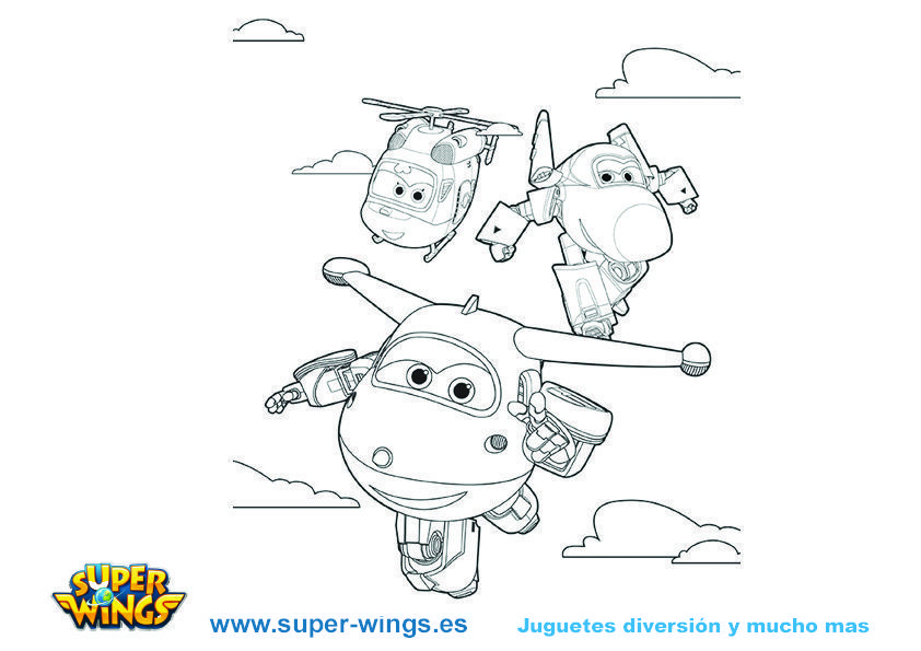 Plantilla colorear Super Wings: Jett, Dizzy y Jerome