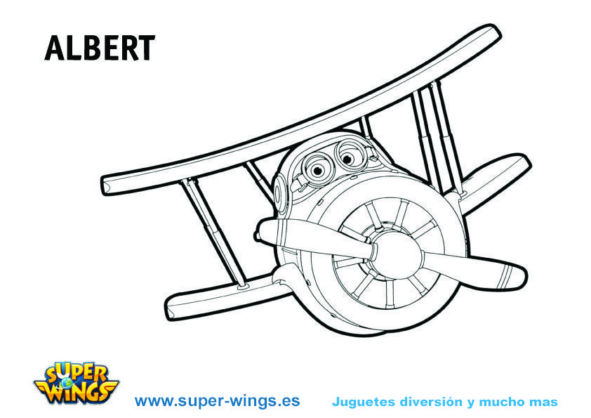 Plantilla colorear Super Wings: Gran Albert