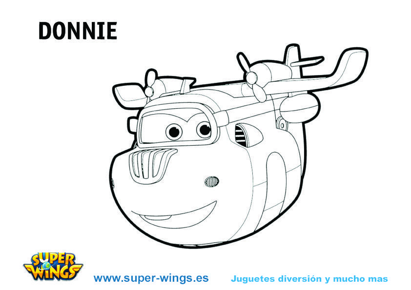 Plantilla colorear Super Wings: Donnie