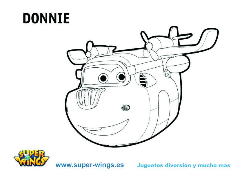 Plantilla para colorear a Donnie - Serie Super Wings