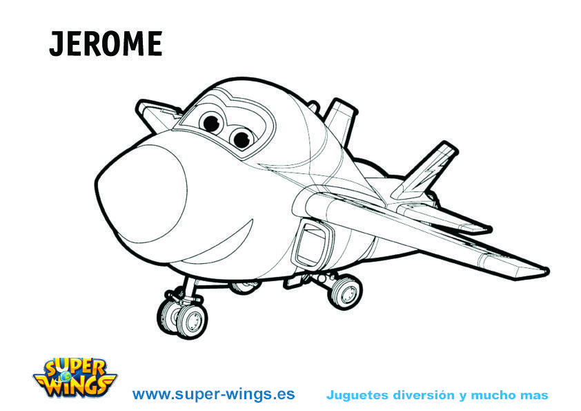 Plantilla colorear Super Wings: Jerome