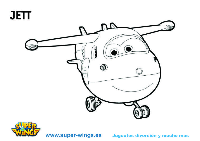Colorear a Jett Super Wings  Plantillas gratis Juguetes y mas