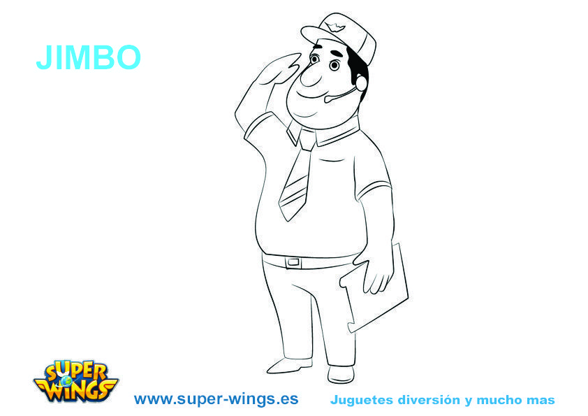 Plantilla colorear Super Wings: Jimbo