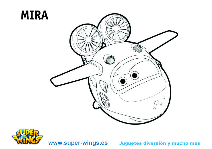 Plantilla colorear Super Wings: Mira
