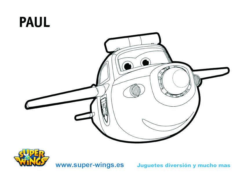 Plantilla colorear Super Wings: Paul