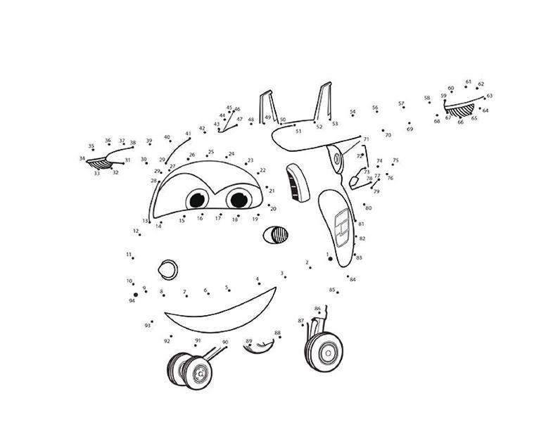 Actividades para niños - Jett avion Super Wings - Unir puntos