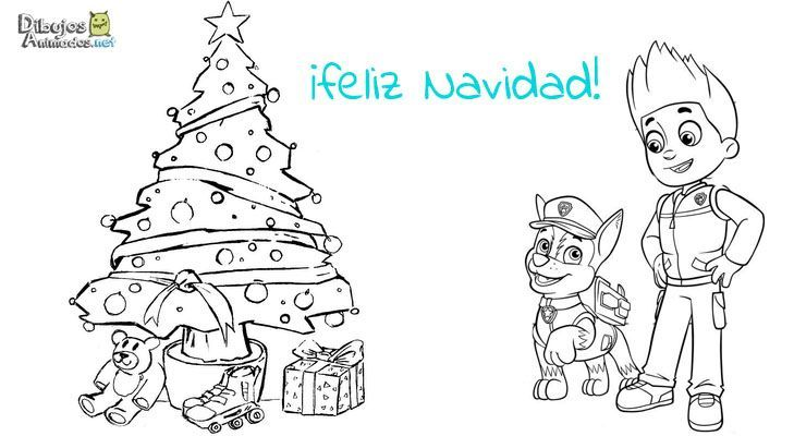 Plantillas Colorear Patrulla Canina Navidad Dibujos Animados