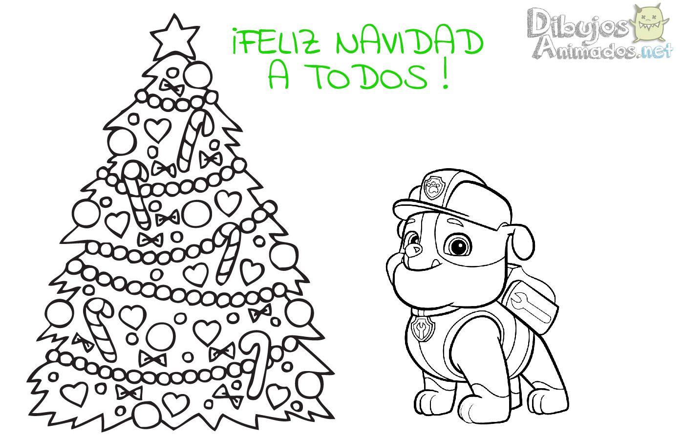 Plantillas colorear Patrulla Canina Navidad - Dibujos Animados