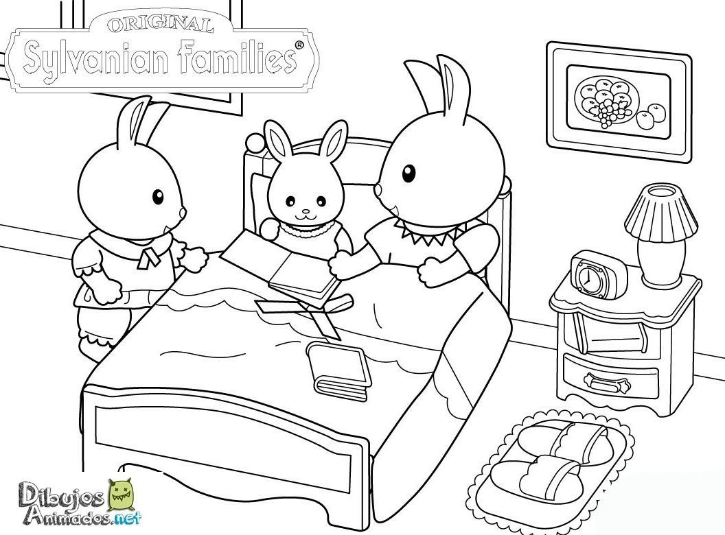 Colorear Familia Conejo Sylvanian Families Dibujos Animados