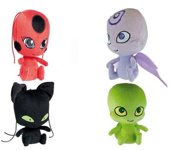 Peluches Kwamis de Ladybug: tikki, Plagg, Nooroo