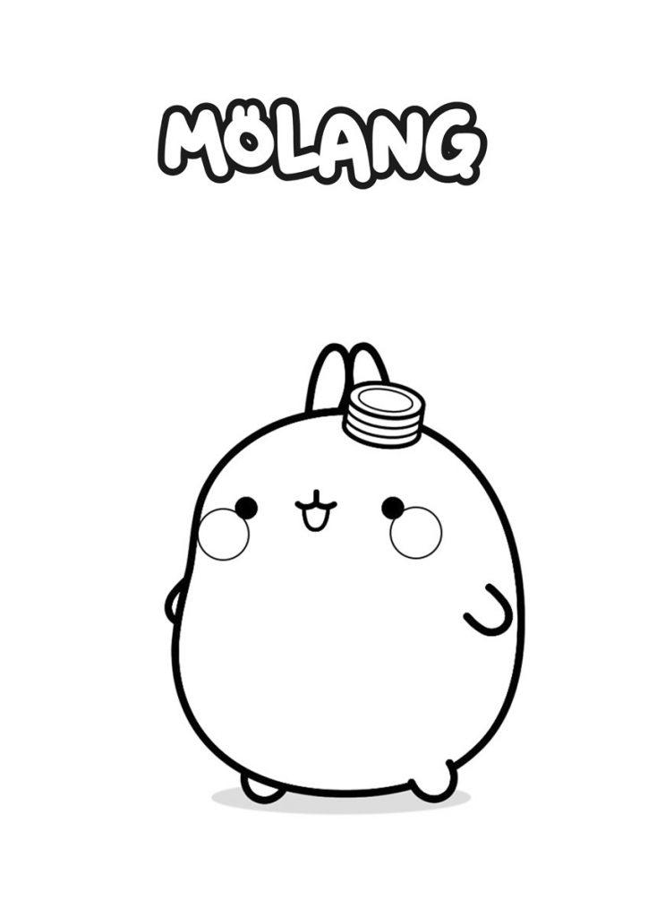 colorear molang gorrito